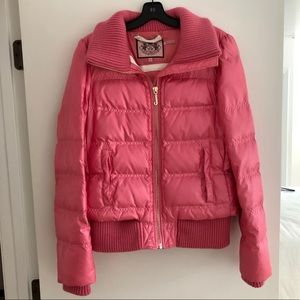 Juicy Couture Pink Puffer Down Jacket Short Coat